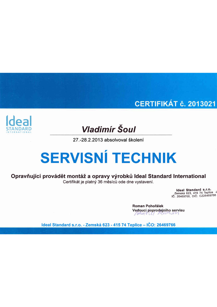 Certifikát Ideal Standard